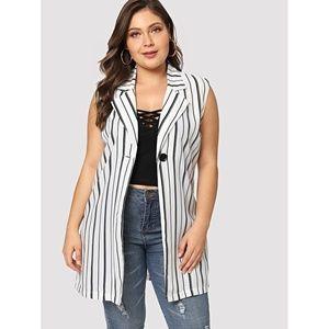 Plus Size White Striped Button Waterfall Jacket